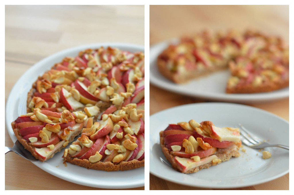Apfelkuchen mit Honig-Cashewkernen
