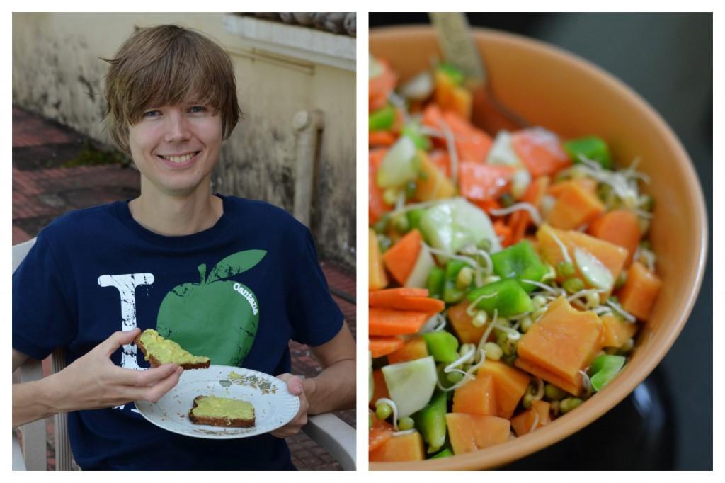 Avocadocreme und Salat mit Mungobohnensprossen