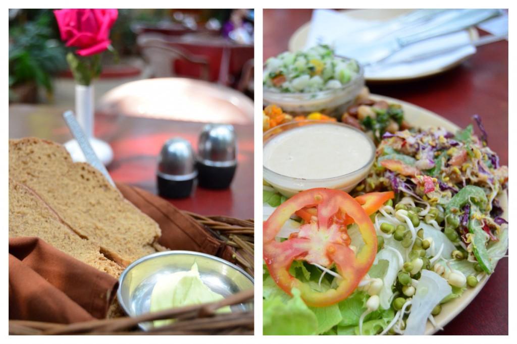 Brot mit Kokosbutter und Salatplatte