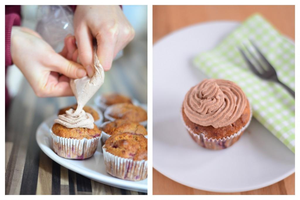 Vollkorn-Cupcakes mit Schoko-Sahne-Frosting