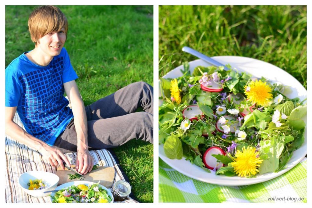 Salatfertigstellung in unserem Garten