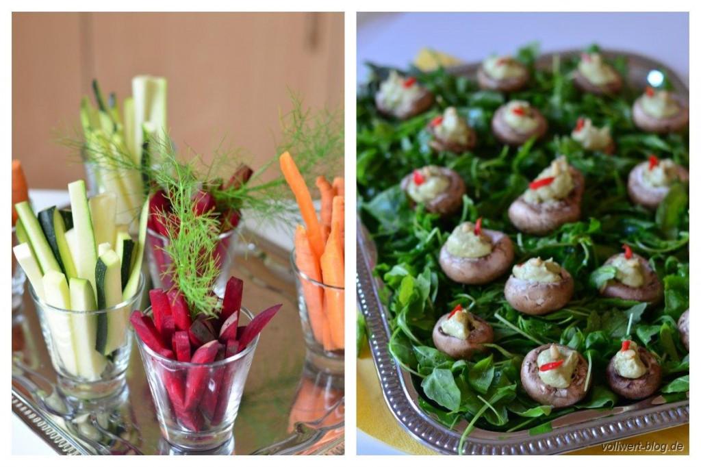 Gemüsesticks und gefüllte Champignons