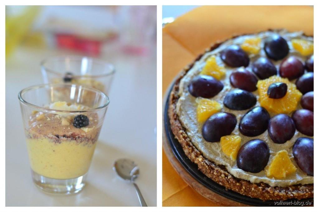 rohköstliches Dessert und Rohkost-Torte