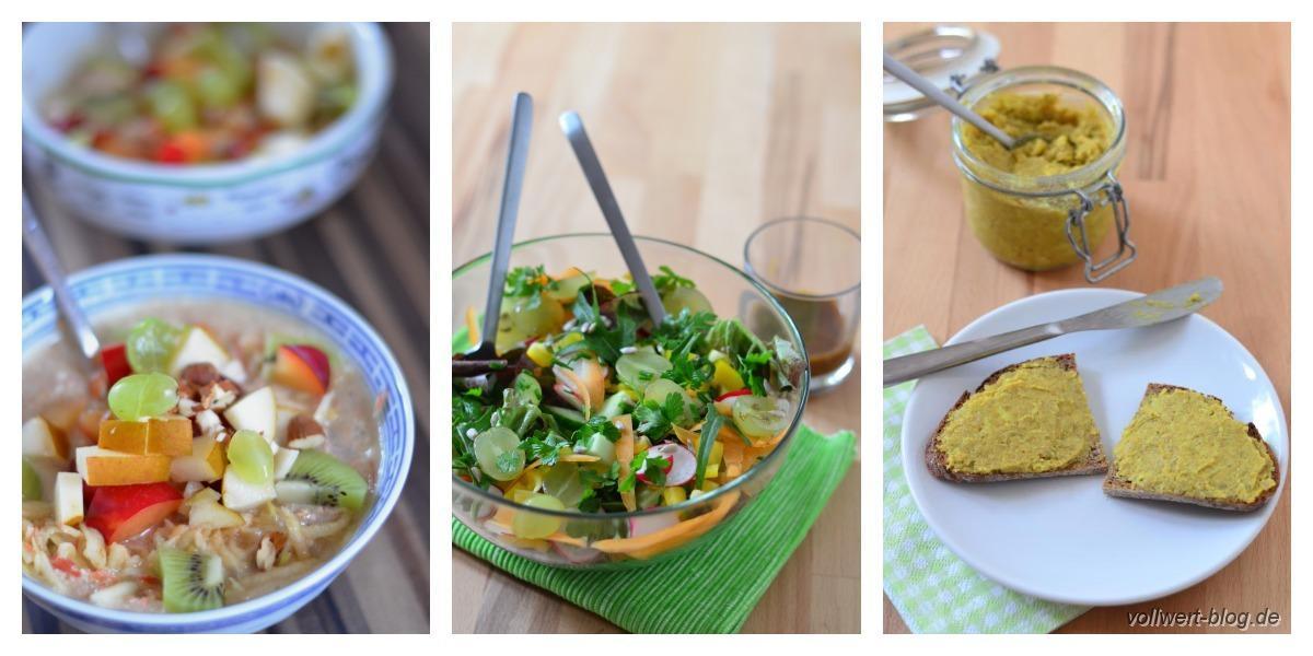 Typisches Alltagsessen: Frischkorngericht, Salat, Vollkornbrot mit Aufstrich