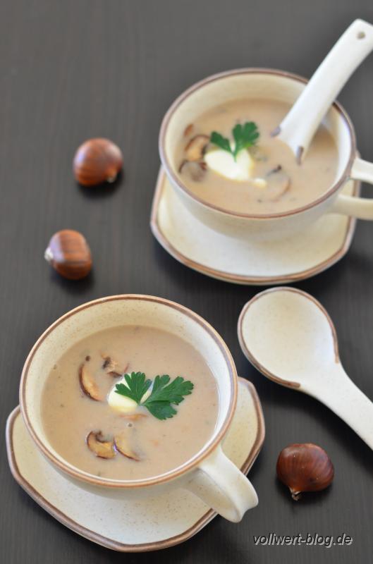 Maronen-Champignon-Suppe mit Thymian