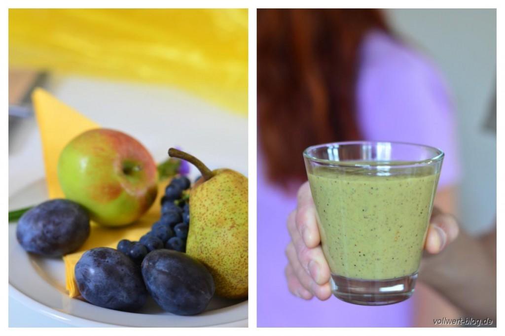 frisches Obst und grüner Smoothie