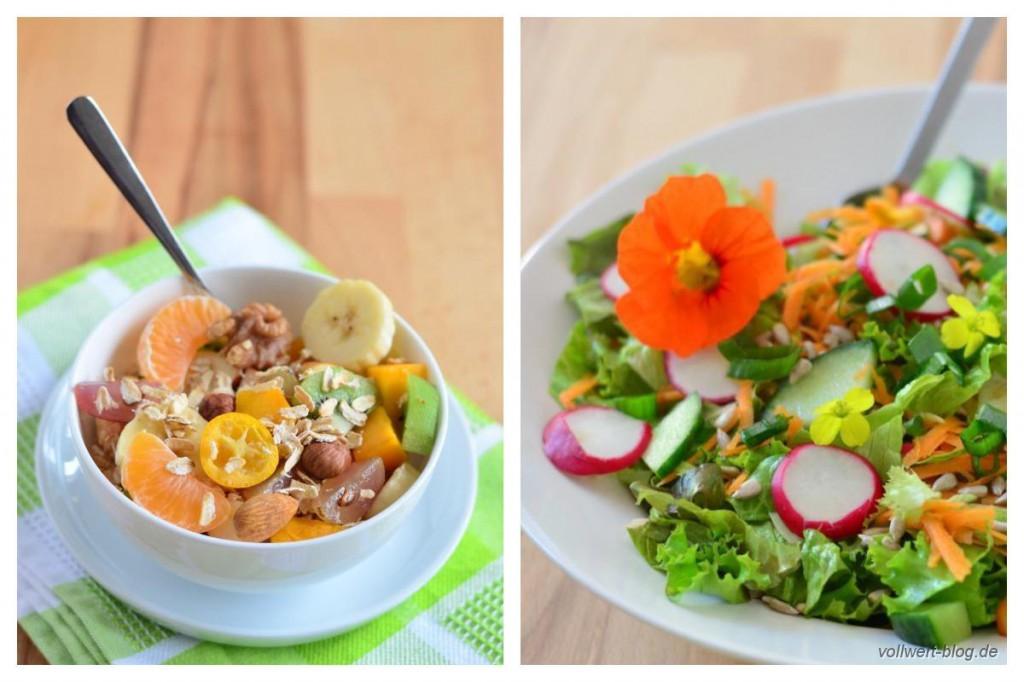 Frischkorngericht und gemischter Salat