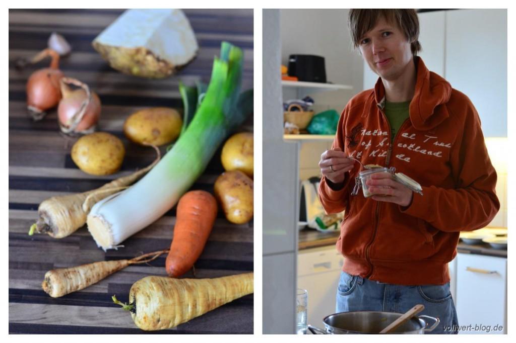 Gemüsereste und beim Suppe kochen