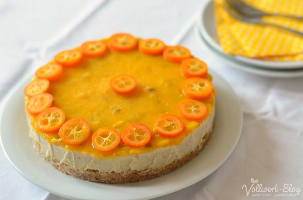 rohköstliche Mango-Maracuja-Torte