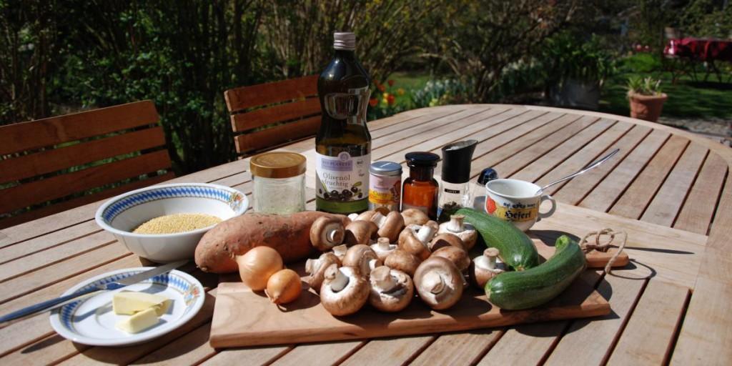 Hirse mit Mandel-Rahm-Gemüse Zutaten