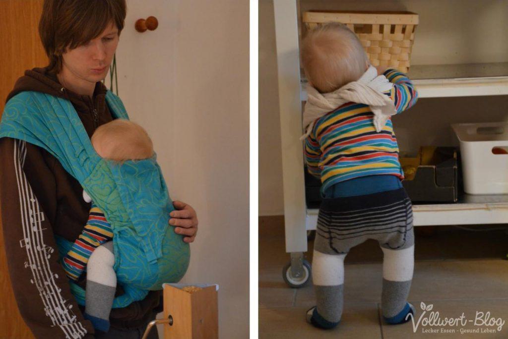 Flockenquetschen mit Baby im Tragetuch