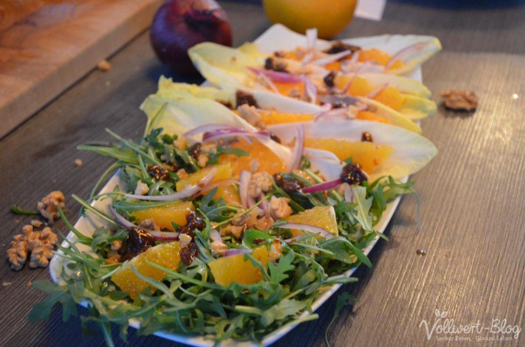 Chicorrée-Schiffchen & Rucola mit Orangen