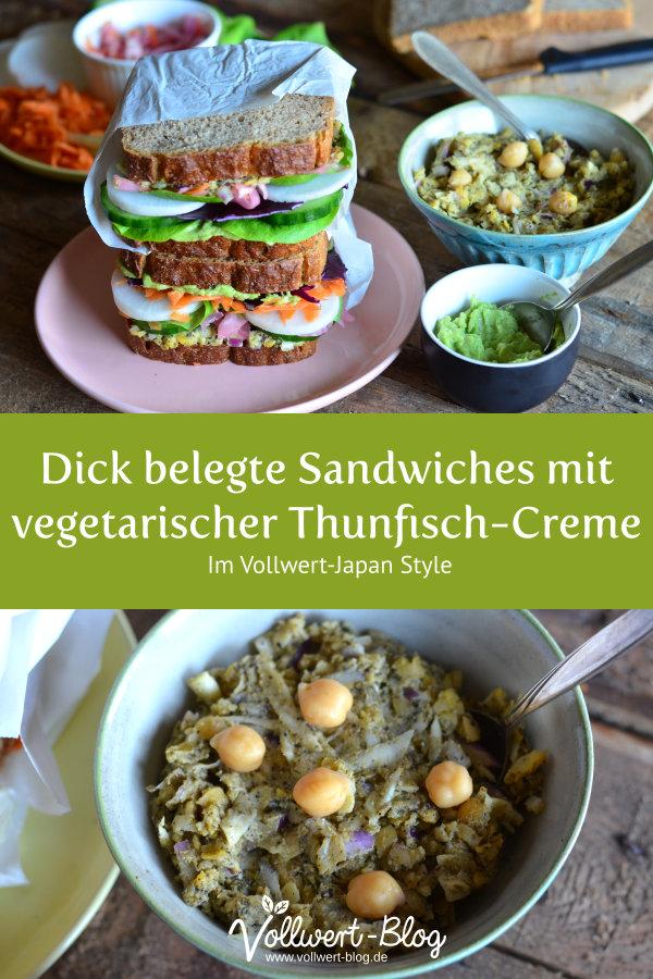 Reichlich belegtes Sandwich mit vegetarischer Thunfisch-Creme
