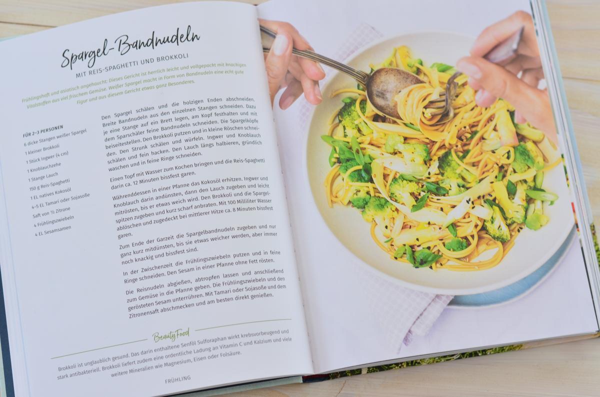 """Spargel-Bandnudeln im Buch """"Beauty Food"""""""