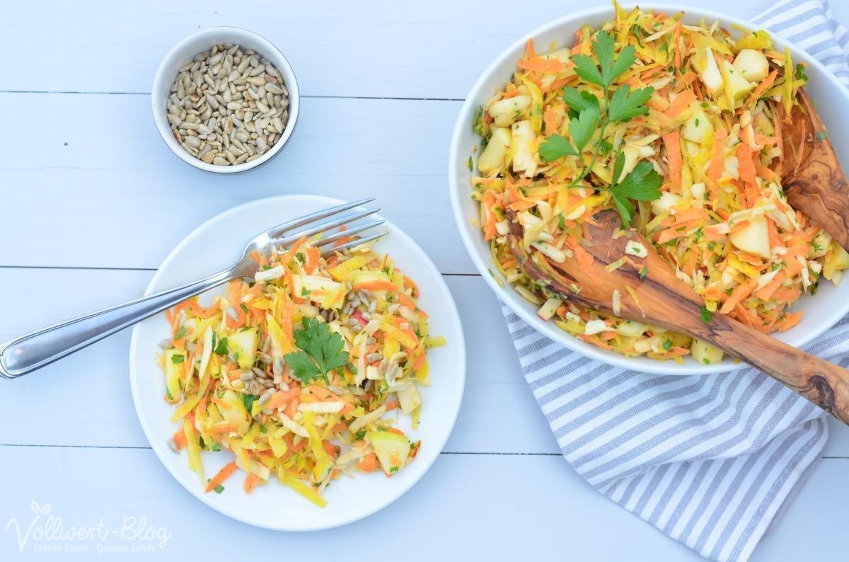 Raspelsalat mit Süßkartoffel, Gelber Bete und Pastinake