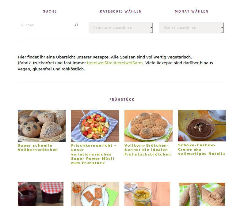 Neue Rezept-Übersichtsseite mit Bildern