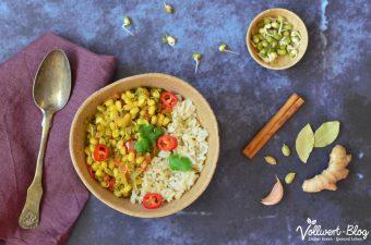 Indisches Curry mit Mungobohnensprossen