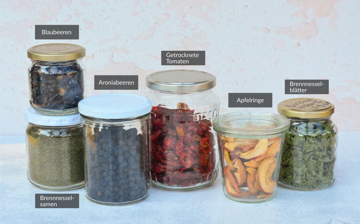 Vorrat an selbst getrockneten Lebensmitteln